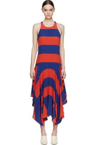 Stella McCartney - Red & Blue Silk Rugby Stripes Dress
