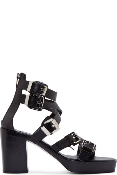 Costume National - Black Leather Buckle Sandals
