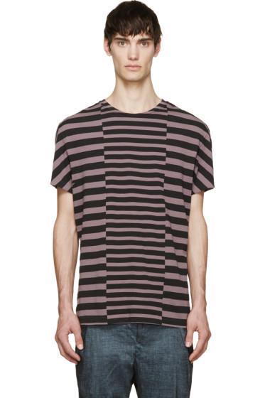 Haider Ackermann - Lilac & Black Striped Nephentes T-Shirt