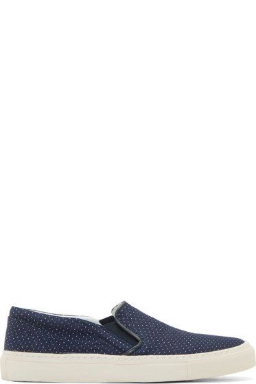 Closed - Navy Pin Dot Slip-On Shoes