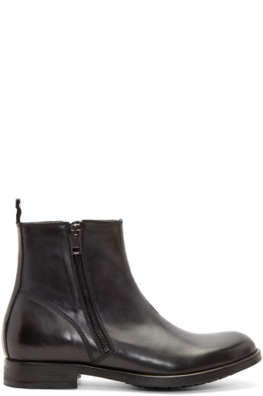 Diesel - Black Leather D-Anklyx Boots