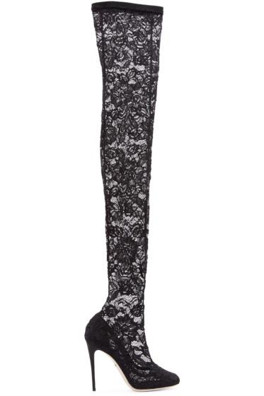 Dolce & Gabbana - Black Lace Stiletto Boots