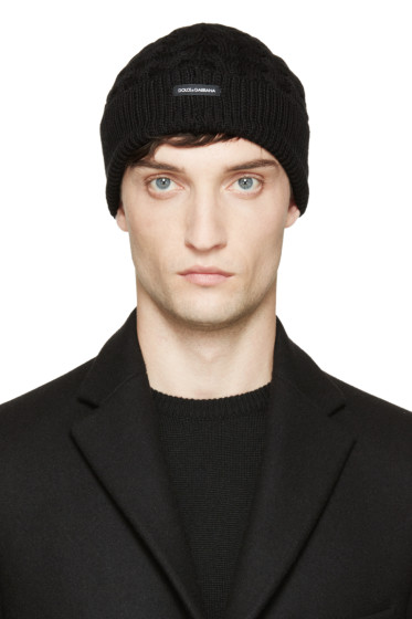 Dolce & Gabbana - Black Wool Cable Knit Beanie