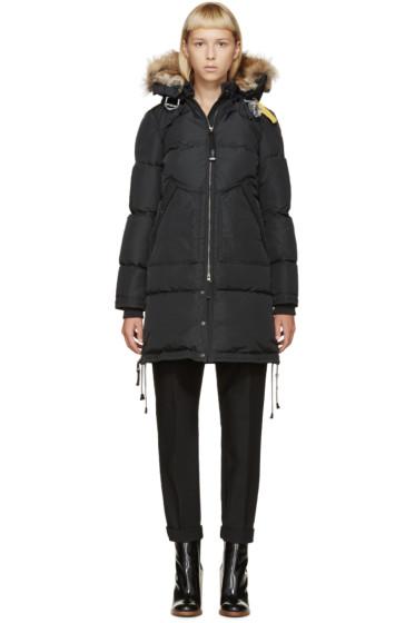 Parajumpers - Black Fur Hooded Long Bear Coat
