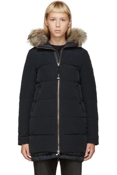Parajumpers - Navy Fur Hooded Long Gwyneth Coat