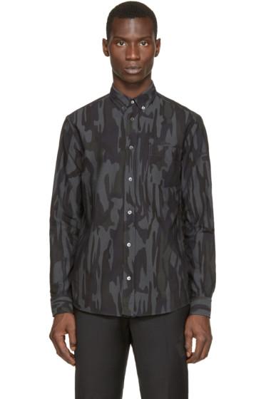 McQ Alexander Mcqueen - Blue & Grey Camo Print Shirt