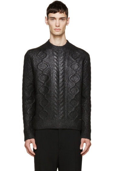 Dsquared2 - Black Coated Cable Knit Sweater