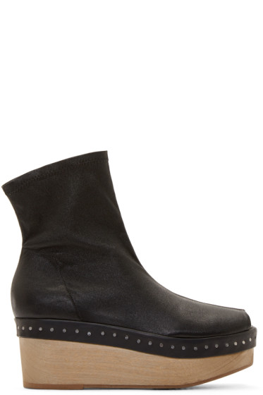 Rick Owens - Black Leather Scuba Platforms