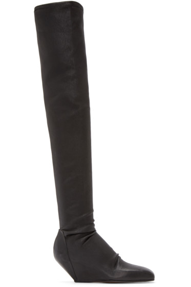 Rick Owens - Black Stretch Leather Boots