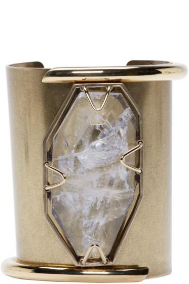 Lanvin - Brass & Crystal Asymmetric Cuff