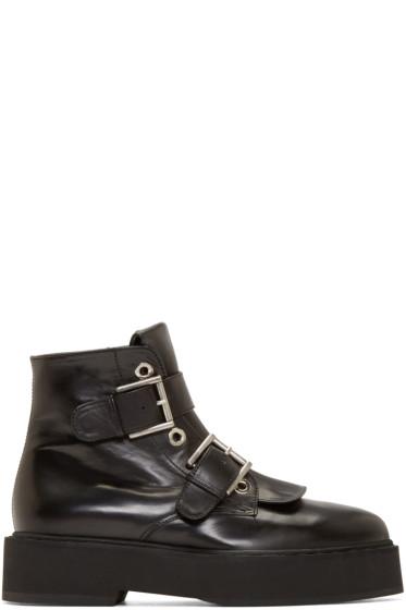 Alexander McQueen - Black Buckle Platform Boots