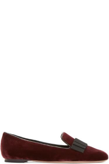 Alexander McQueen - Burgundy Velvet Bow Loafers