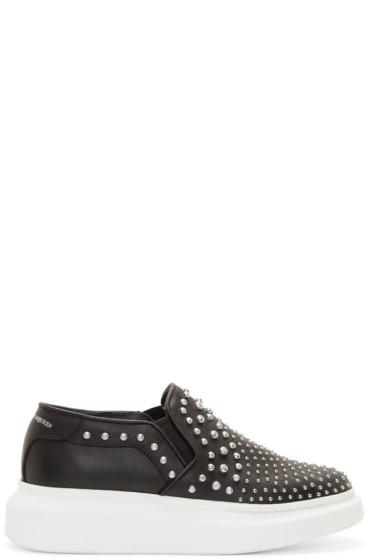 Alexander McQueen - Black Studded Platform Slip-On Sneakers