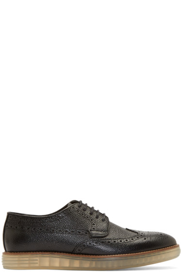 H by Hudson - Black Pebbled Leather Harvey Brogues