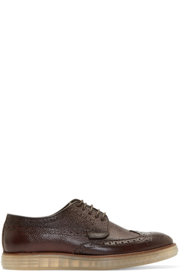 H by Hudson - Brown Pebbled Leather Harvey Brogues