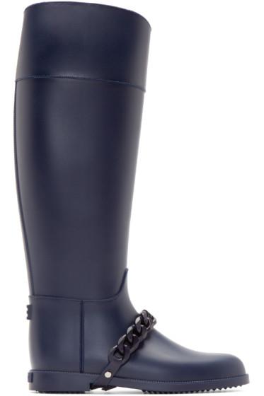 Givenchy - Navy Chain Eva Rain Boots