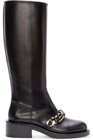 Givenchy - Black Leather Chain Pira Tall Boots