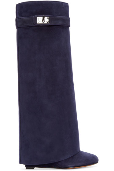 Givenchy - Navy Suede Pant Boots