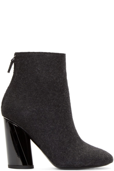 Proenza Schouler - Black Felted Wool Ankle Boots