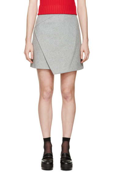 Carven - Grey Wool Wrap Skirt
