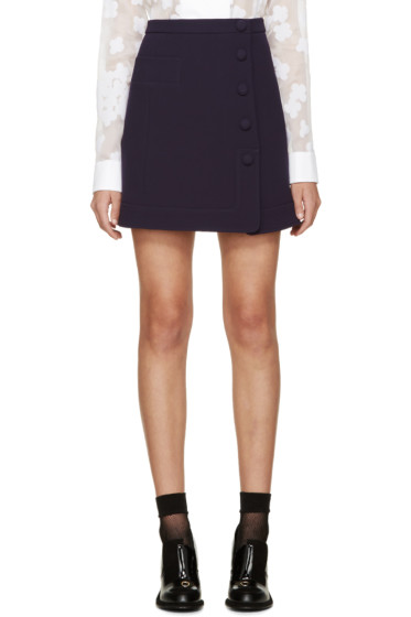 Carven - Indigo Double Crepe Button Miniskirt