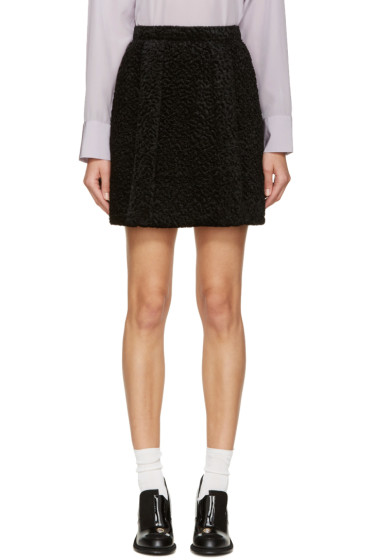 Carven - Black Faux-Astrakhan Skirt