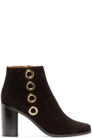 Chloé - Black Suede Eyelet Ankle Boots