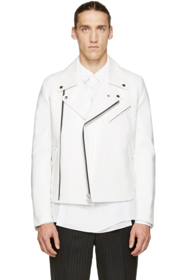 Comme des Garçons Homme Plus - White Faux-Leather Printed Back Panel Jacket