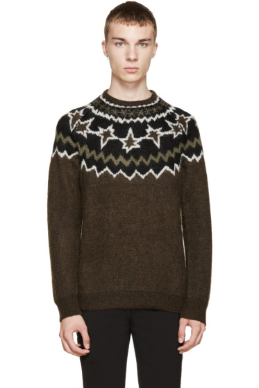 Neil Barrett - Brown Fair Isle Knit Sweater