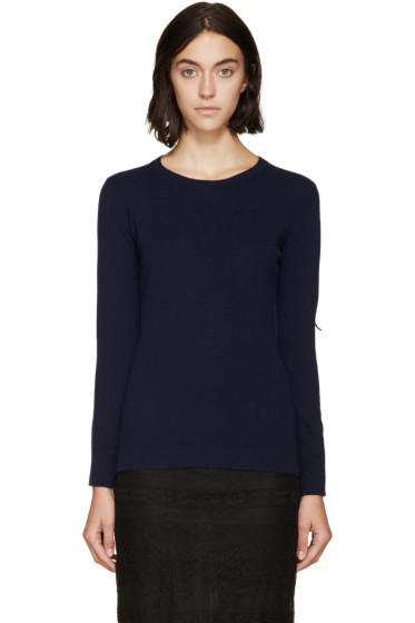 Burberry Prorsum - Navy Fringed Knit Sweater