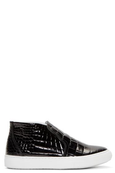 Pierre Hardy - Black Embossed Leather Slip-On Skate Sneakers