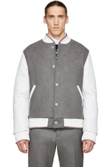 Thom Browne - Grey Wool & Leather Bomber Jacket