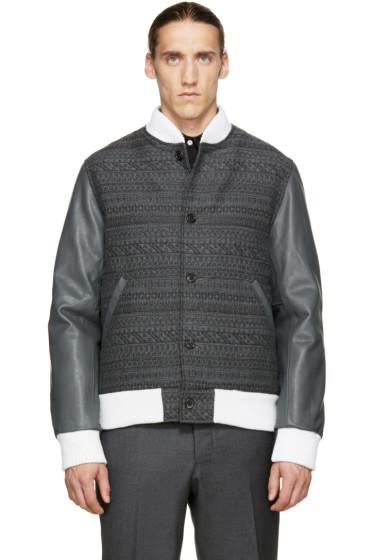 Thom Browne - Grey Jacquard & Leather Bomber Jacket