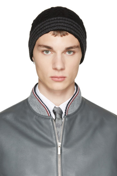 Thom Browne - Black & Grey Cashmere Cable Knit Beanie