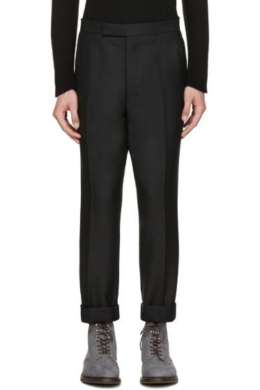 Thom Browne - Black Wool Tapered Trousers