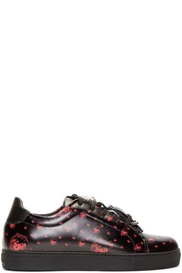 Versus - Black & Red Leather Strap Low-Top Sneakers