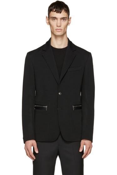Versace - Black Leather-Trimmed Blazer