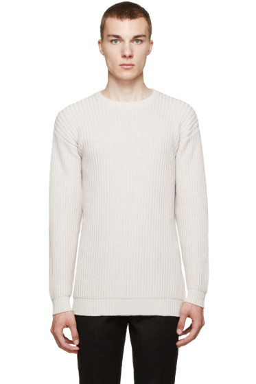 Versace - Beige Ribbed Crewneck Sweater
