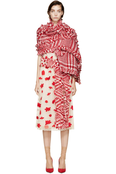 Simone Rocha - Red & White Tweed Scarf