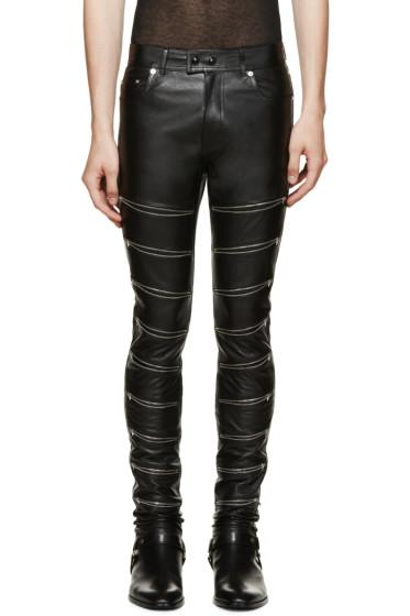 Saint Laurent - Black Leather Zip Trousers