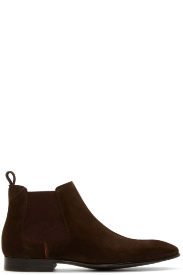 PS by Paul Smith - Dark Brown Suede Falconer Boots