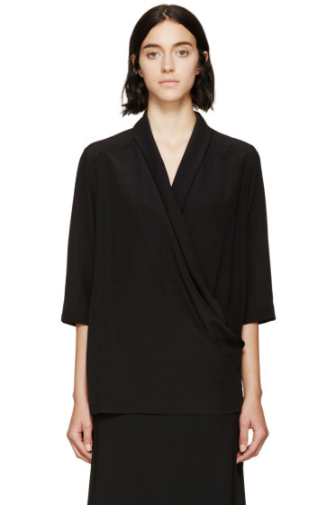 Stella McCartney - Black Silk Draped Wrap Blouse