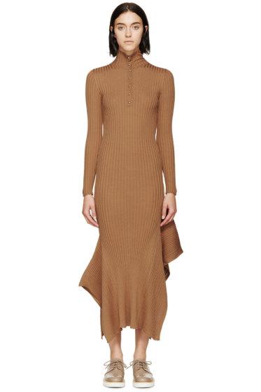 Stella McCartney - Tan Ribbed Button-Up Turtleneck Dress
