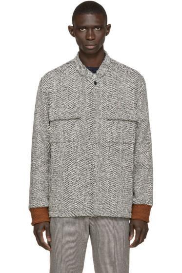 Umit Benan - Black & White Herringbone Shirt