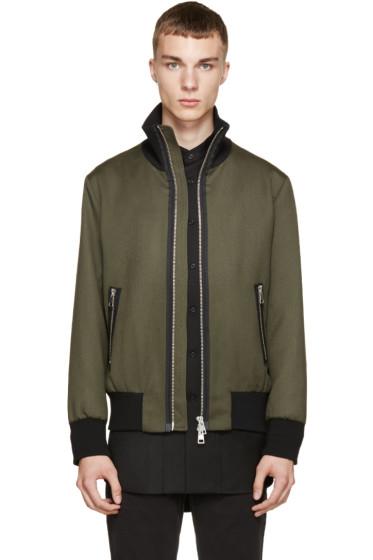 AMI Alexandre Mattiussi - Green Wool Stand Collar Jacket