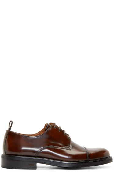 AMI Alexandre Mattiussi - Cognac Polished Leather Derbys