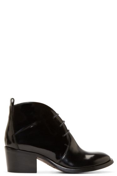 Costume National - Black Polished Lace-Up Boots