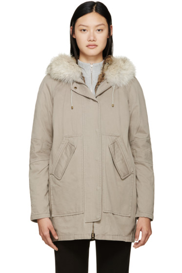 Army by Yves Salomon - Taupe Fur-Lined Parka