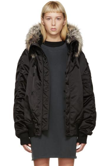 YEEZY Season 1 - Black Faux-Fur Bomber Jacket