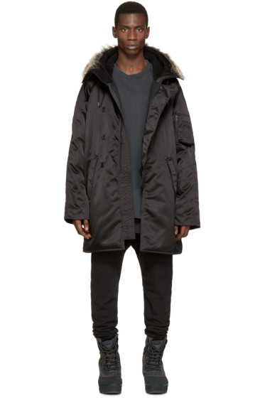 YEEZY Season 1 - Black Faux-Fur Parka